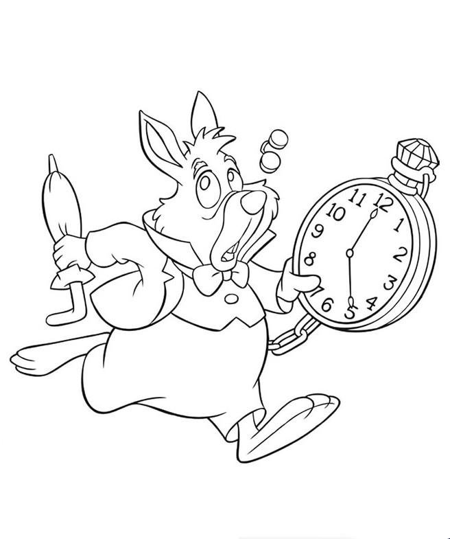 Colorare Alice Nel Paese Delle Meraviglie Disegno Il Coniglio Con
