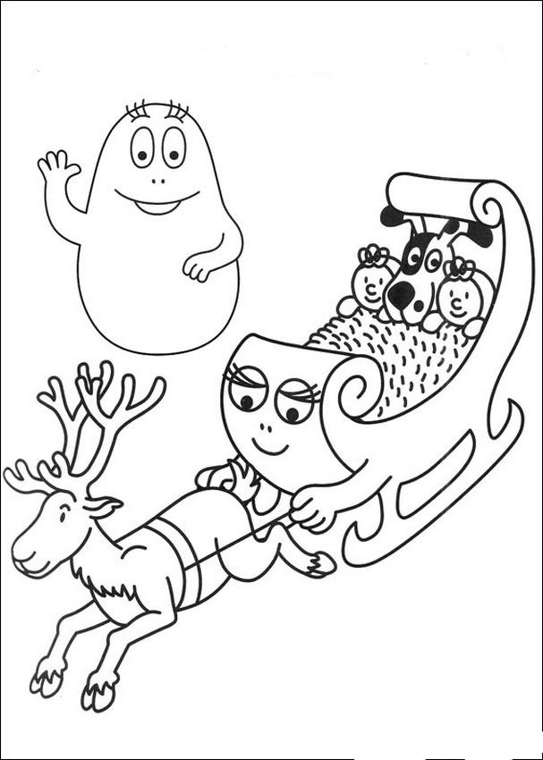 Colorare Barbapapà Disegno Slitta Di Babbo Natale