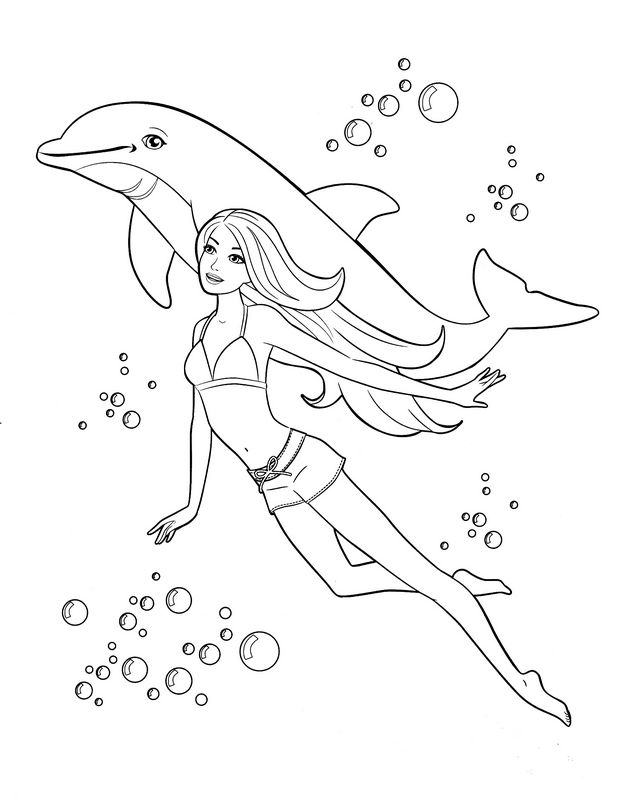 Colorare Barbie Disegno Un Delfino E Barbie In Mare