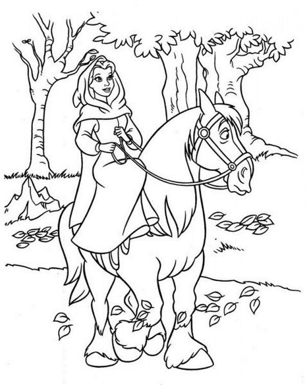 Colorare la bella e la bestia disegno belle sul suo cavallo for Suo e suo armadio