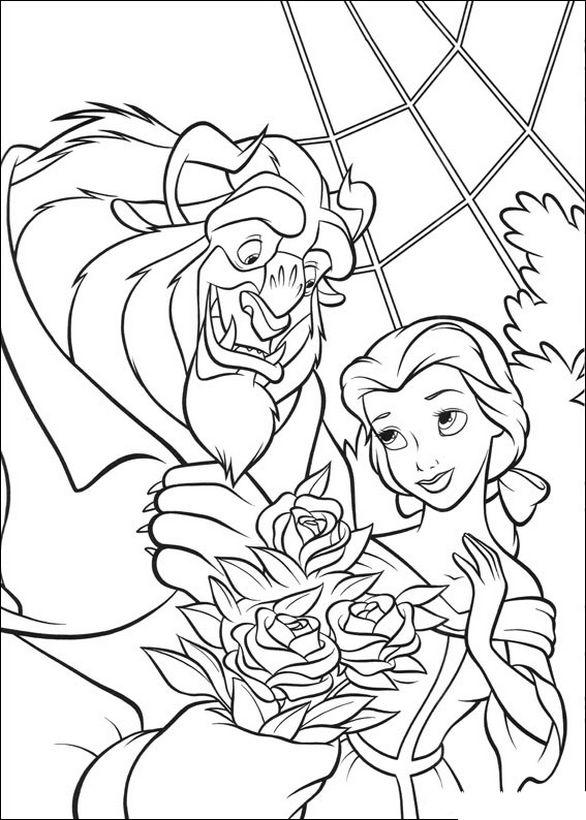 Colorare La Bella e la Bestia , disegno Un bel mazzo di fiori