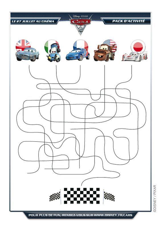 Colorare cars disegno labirinto cars disney for Cars 2 da stampare