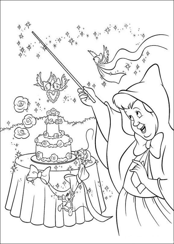 Colorare Cenerentola Disegno Una Torta Di Compleanno Bellissima