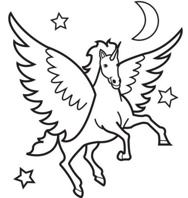 Colorare Cavallo, Disegno Cavallo Con Le Ali