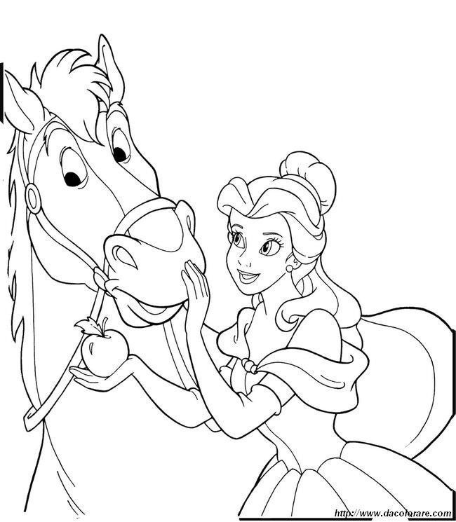 Colorare cavallo disegno la bella e la bestia for La bella e la bestia disegni da colorare