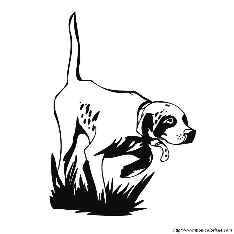 Colorare cane disegno cane da caccia for Cane disegno da colorare