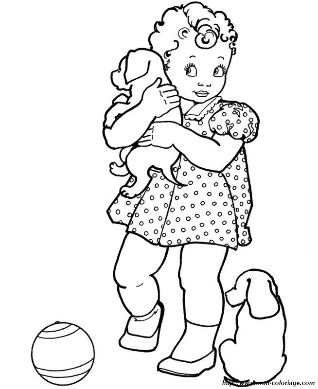 Colorare Cane Disegno Una Bambina Con Due Cani Free Printable Coloring Pages Canes