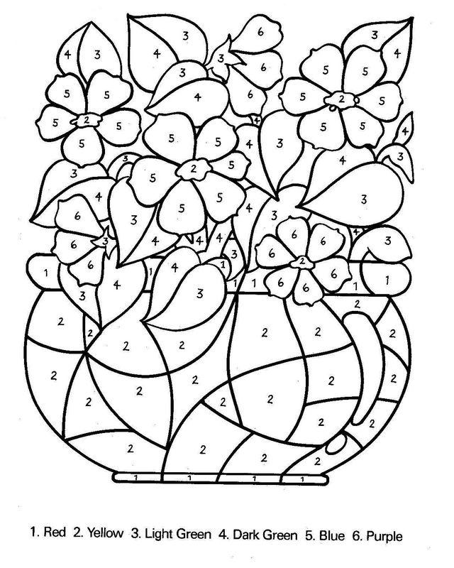 Conosciuto Colorare Numeri, disegno Mazzo di fiori con numeri DX89