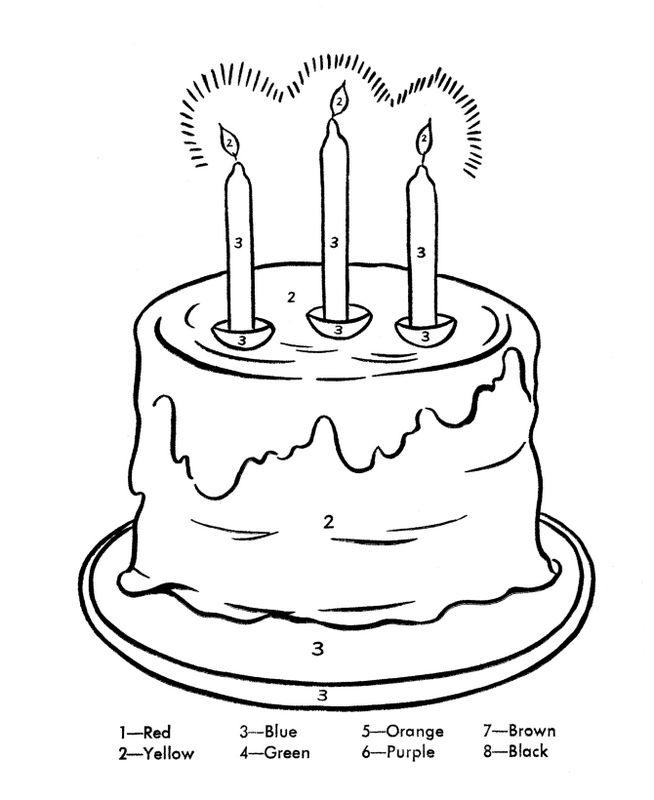 Colorare Numeri Disegno Una Torta Di Compleanno Enorme