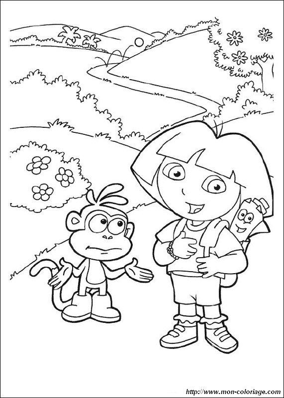 Colorare Dora L Esploratrice Disegno Mappa E Zainetto Di Dora