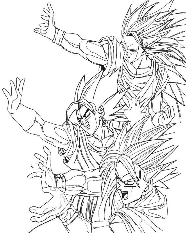 Colorare Dragon Ball Z Disegno Le Grandi Potenze In Azione