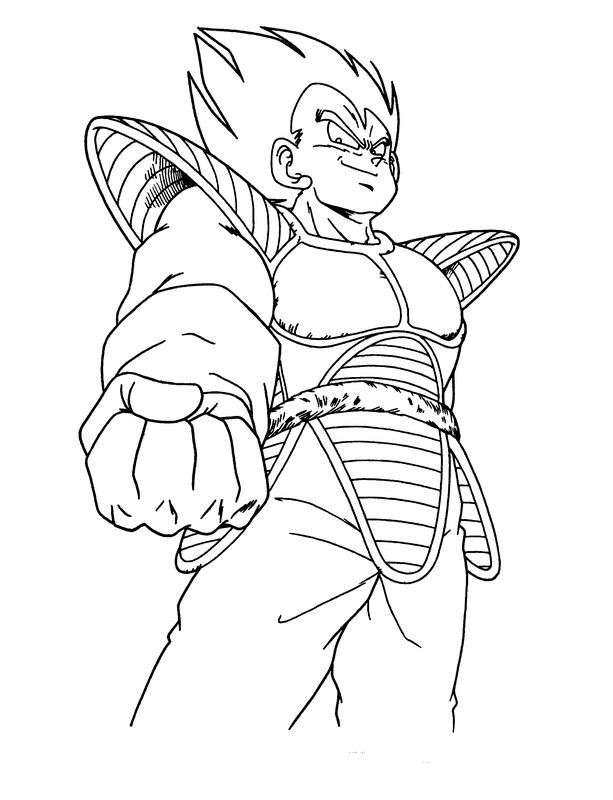 Colorare Dragon Ball Z Disegno Vegeta Potente E Bello