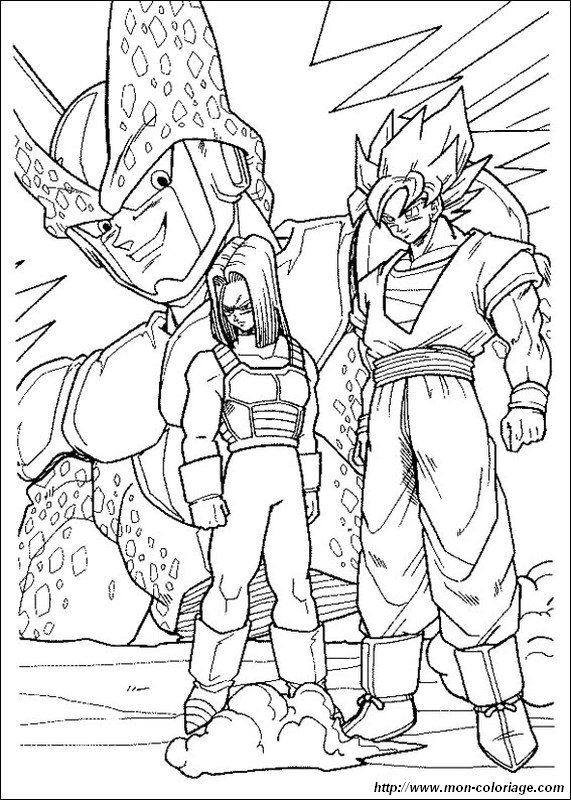 Colorare Dragon Ball Disegno Son Goku Con Trunks Cell
