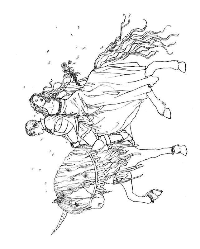 Colorare fata disegno coppia di innamorati su un unicorno - Fata immagine da colorare ...