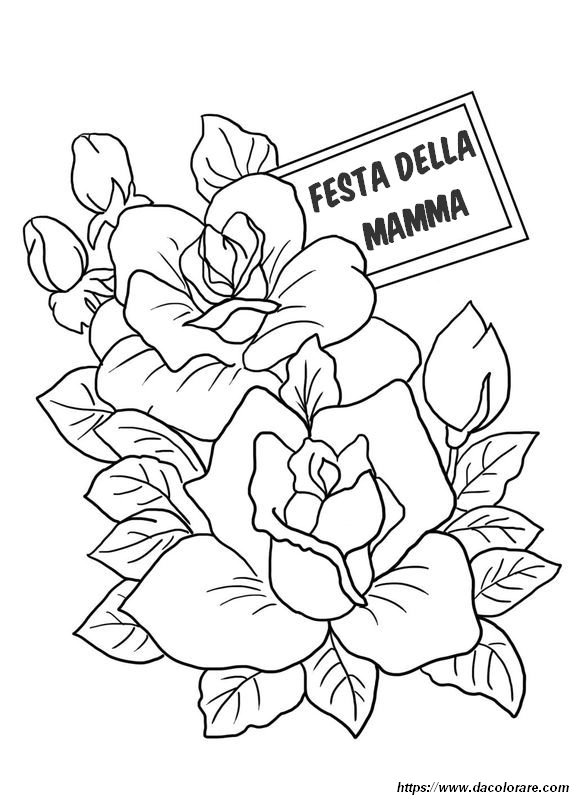 Colorare Festa Della Mamma Disegno Due Belle Rose Da Colorare