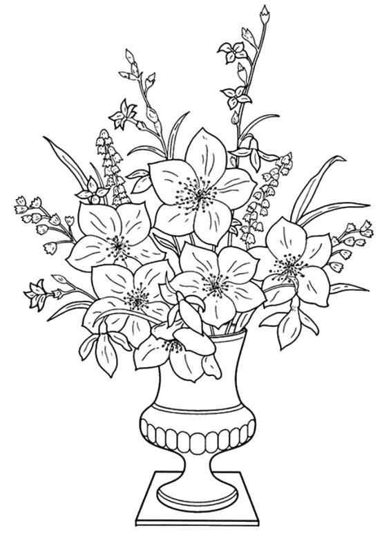 Colorare Fiore Disegno Bouquet Di Fiori In Un Vaso