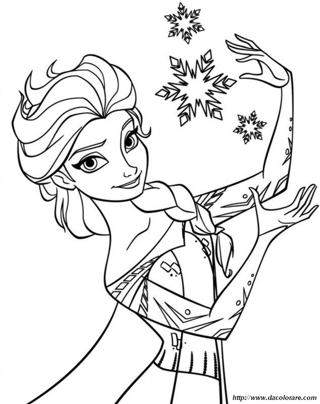 Colorare Frozen Il Regno Di Ghiaccio Disegno Elsa E Fiocchi Di Neve