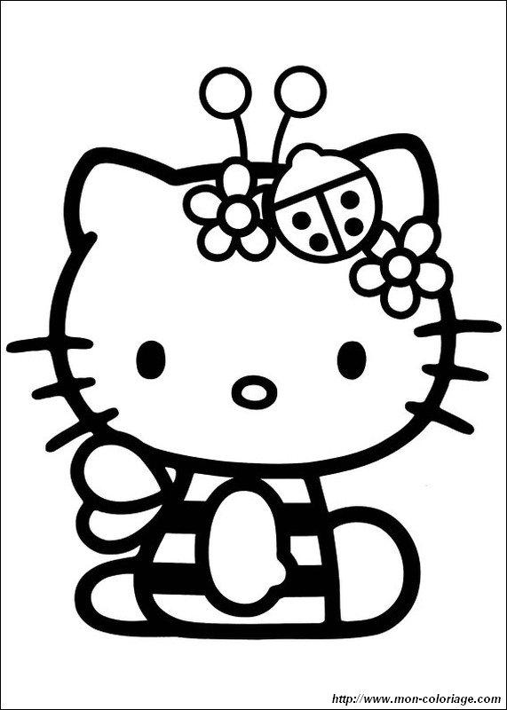 Colorare Hello Kitty Disegno Ape E Coccinella