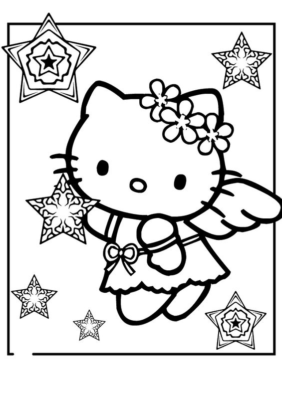colorare hello kitty disegno un angelo e stelle