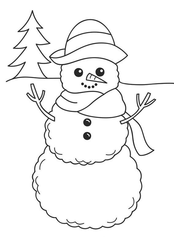 Colorare Inverno E Neve Disegno Pupazzo Di Neve Con Un Albero Di Abete