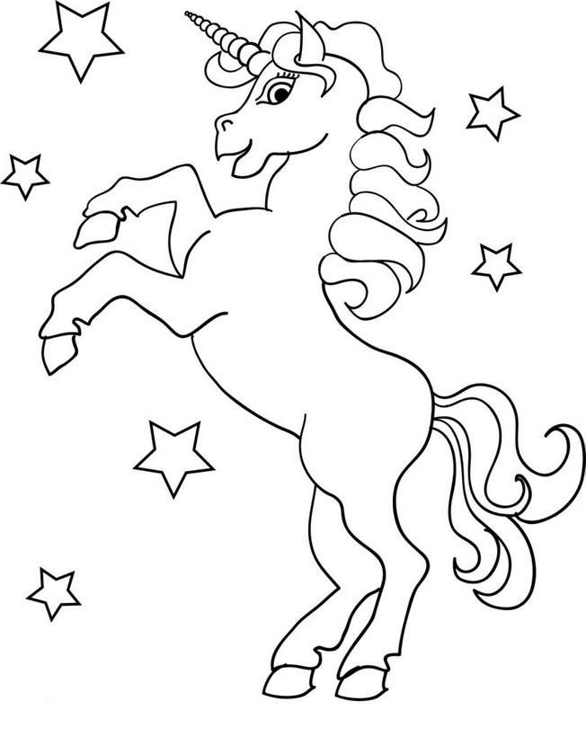 Colorare Unicorno Disegno Nelle Stelle