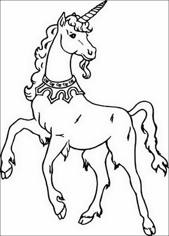 Colorare unicorno disegno un unicorno con una collana - Libero unicorno pagine da colorare ...