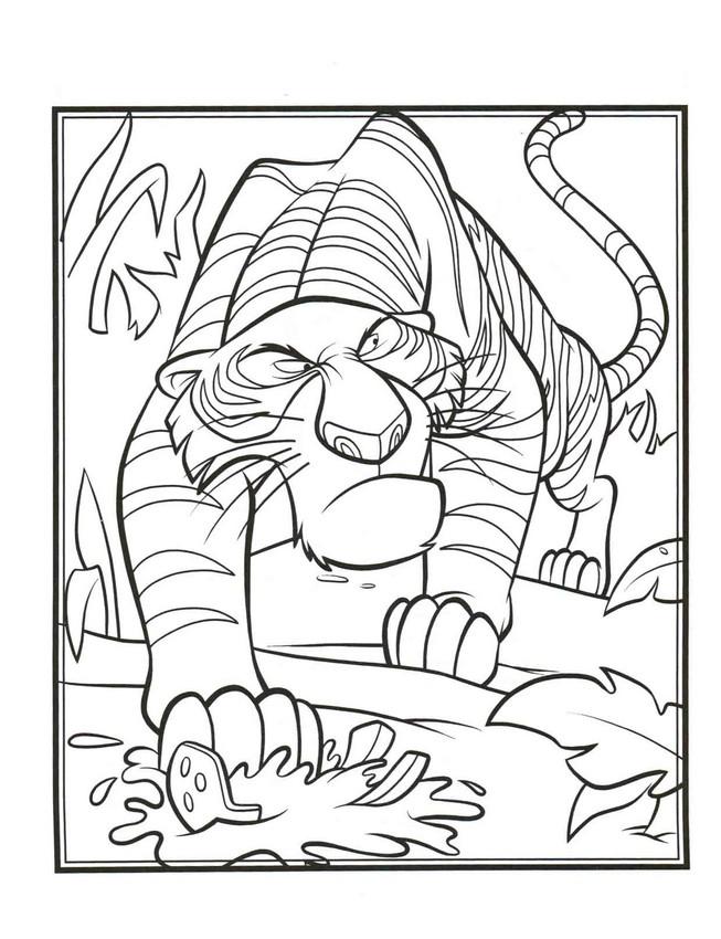 Colorare il libro della giungla disegno shere khan tigre for Immagini tigre da colorare