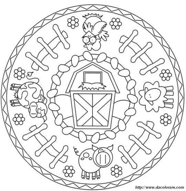 Colorare mandala disegno gli animali della fattoria for Mandala da colorare con animali