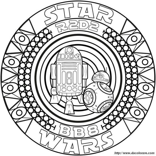 Colorare Mandala Disegno Star Wars Bb8 E R2d2
