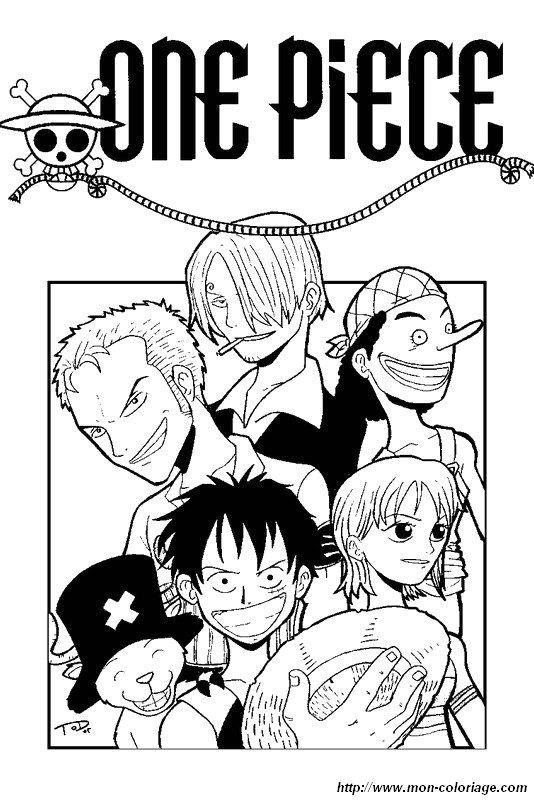 Colorare Manga Disegno One Piece Insieme