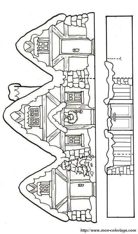 Colorare disegni da ritagliare disegno casa sotto la neve - Patron de maison en papier a imprimer ...