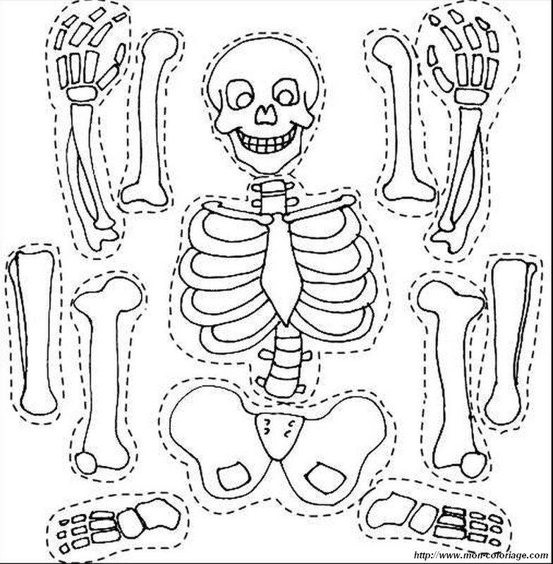 Colorare disegni da ritagliare disegno scheletro amichevole - Scheletro foglio da colorare ...