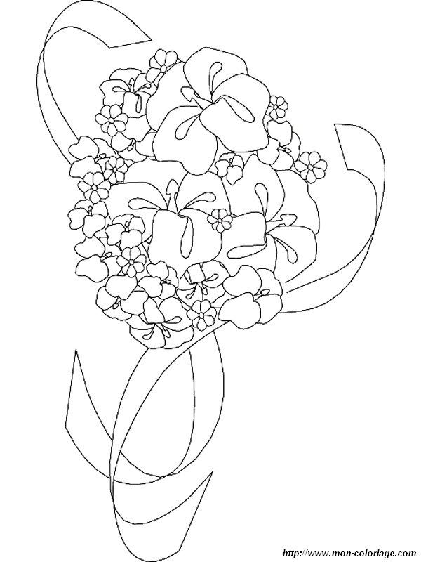 Colorare Matrimonio Disegno Bouquet Fiori Matrimonio