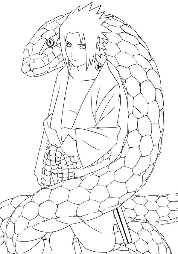 Colorare Naruto Disegno Il Grande Serpente Bianco