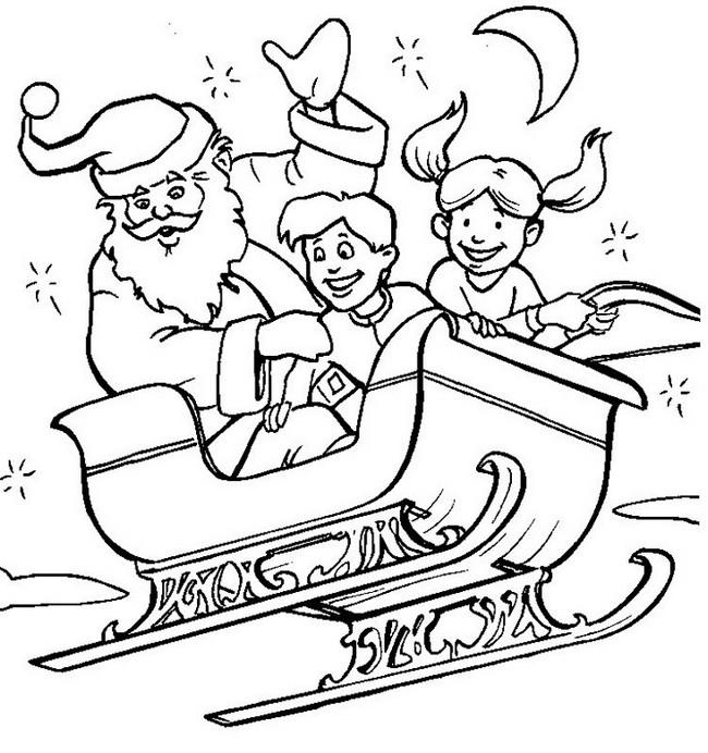 Colorare Natale Disegno Nella Slitta Di Babbo Natale