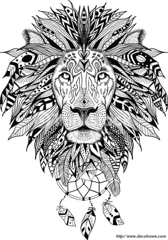 Colorare Per Adulti Disegno Il Leone Con Una Bella Criniera