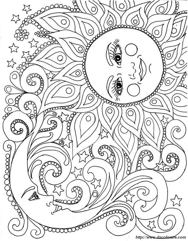 Colorare per adulti disegno il sole e la luna for Sole disegno da colorare