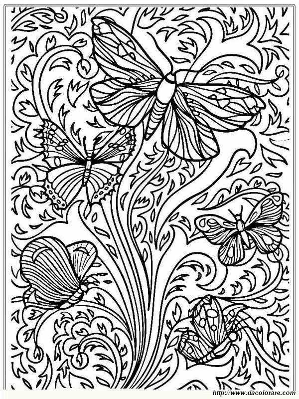 Colorare per adulti disegno le farfalle volano nel cielo - Pagine da colorare per le farfalle ...