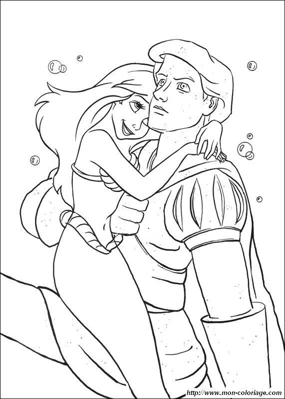 Colorare la sirenetta disegno eric e ariel innamorato for La sirenetta da stampare