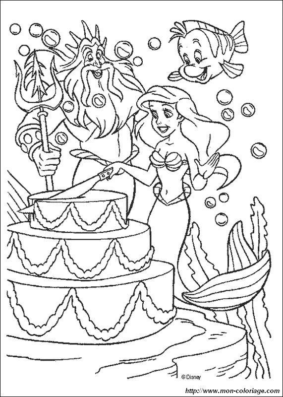 Colorare La Sirenetta Disegno Una Torta Di Compleanno Bella