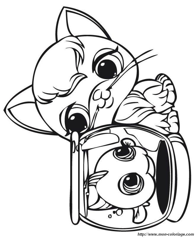 Colorare littlest pet shop disegno gattino e pesci rossi for Disegni di pesci da colorare