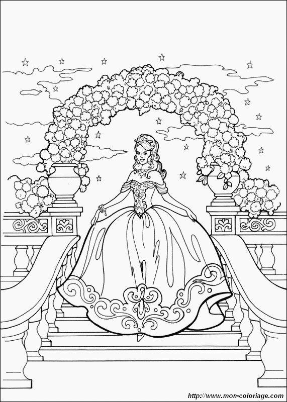 colorare principessa e principe disegno scende le scale