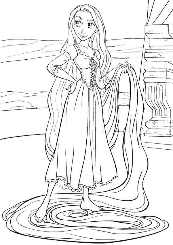 Colorare Rapunzel Disegno I Lunghi Capelli Di Rapunzel