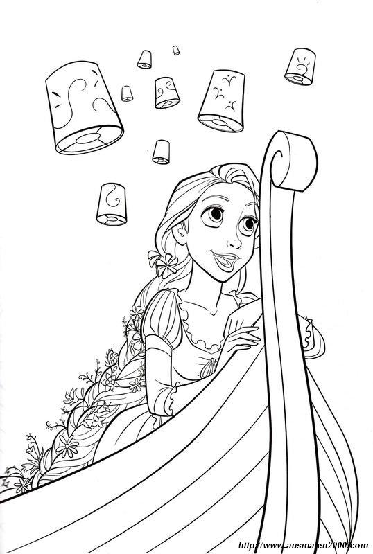 Colorare Rapunzel Disegno Lanterne Rapunzel