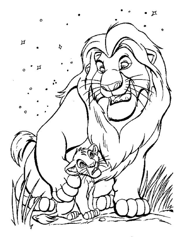 Colorare Il Re Leone Disegno Mufasa Con Suo Figlio
