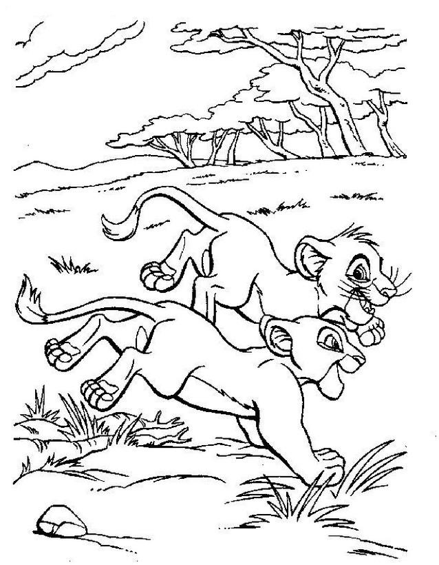 Colorare Il Re Leone Disegno Simba E Nala Nella Savana
