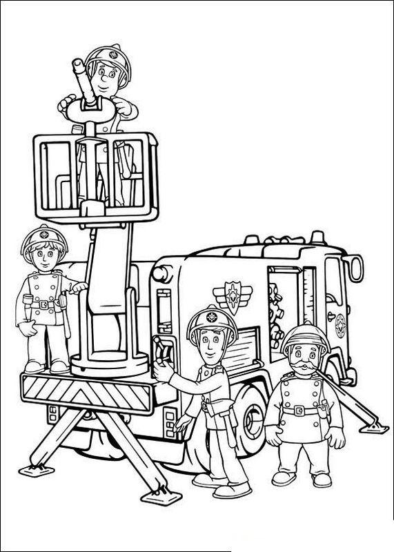 colorare sam il pompiere  disegno il gruppo dei vigili del