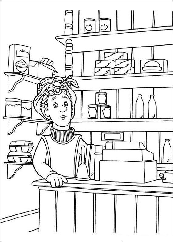 colorare sam il pompiere disegno il negozio di alimentari