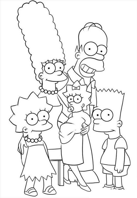 Colorare I Simpson Disegno La Famiglia Completa