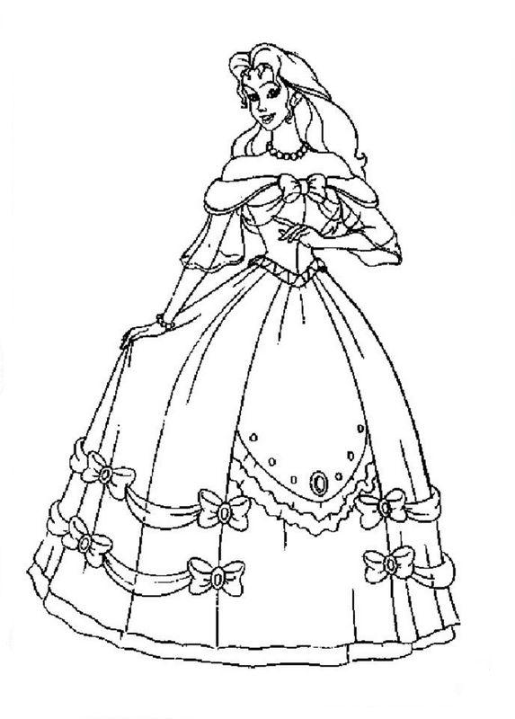 colorare sissi disegno un bel vestito per il ballo